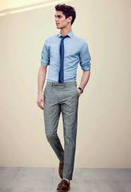 which dress pants to wear with a light blue long sleeve shirt