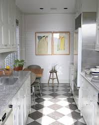 galley kitchen ideas with dining sitting area and diamond pattern