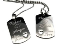 his and hers dog tags personalized couples name necklace order any names two