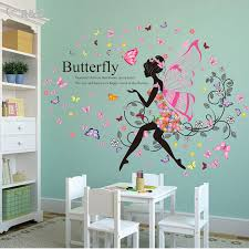 Find More Wall Stickers Information About  New Butterfly Girl - Cheap wall decals for kids rooms