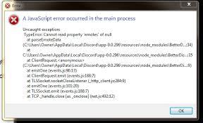 discord javascript error updated discord after reinstalling betterdiscord it doesn t work