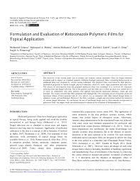 formulation and evaluation of ketoconazole polymeric films for