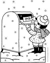 sending letter santa color christmas coloring pages