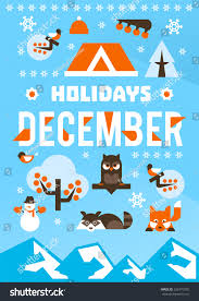 december holidays designed printing postcards calendars stock
