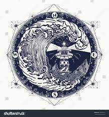 lighthouse storm tattoo lighthouse rose compass stock vector