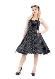 50s halter dress in black with small white dots 1950s style