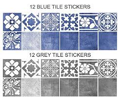 sticker carrelage cuisine sticker carrelage de décoration vogue bleu pack avec 56 10 x 10