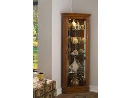 furniture standing wooden corner showcase with tall glass door