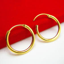 gold ear ring image 2018 do not fade gold earrings big ear ring buckle 24k
