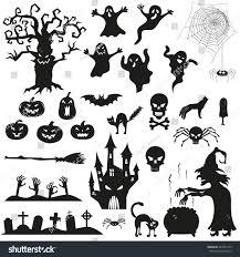 halloween spooky black silhouettes vector icons stock vector
