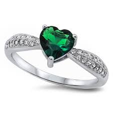 925 sterling silver v shaped heart promise ring size 5 6 7 8 9 10 1 1ct heart shape emerald green promise ring solid 925 sterling