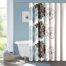 Blue And White Striped Shower Curtain Brown Blue Shower Curtain Home Decorating Interior Design Bath