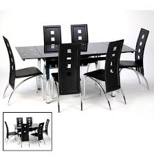 Black Glass Extending Dining Table Glass Extendable Dining Table In Black With Chrome