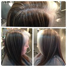 how to grow in gray hair with highlights blond pinstripe highlights to camouflage gray growing out this is