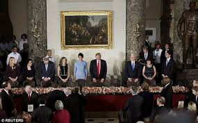 inaugural luncheon head table president trump and melania have their first meal