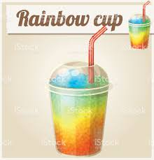 rainbow cocktail rainbow ice cup cartoon vector icon series of stock vector art