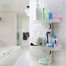 Suction Cup Bathroom Shelf Multifunction Suction Cup Bathroom Shelf Wall Mounted Dual Layer