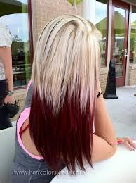 blonde hair on top dark hair under crimson red with four