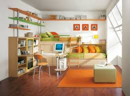 delightful bedroom for kids presenting wooden bunk bed integrated
