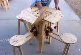 Portable Folding Picnic Table A Clever Portable Wooden Picnic Table That Unfolds In Seconds
