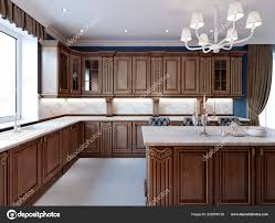kitchen cabinet marble top luxury kitchen with tile floor stained cabinets and marble counter top 3d rendering 228556136