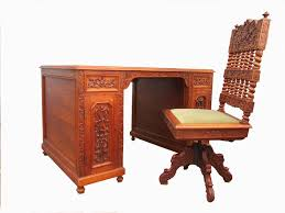 vintage carved wooden colonial writing desk and chair set of 2