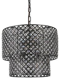 Black Chandelier With Shades 8 Light Crystal Chandelier With Double Drum Shades Antique Black
