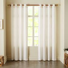 Blue And White Window Curtains Linen Cotton Grommet Curtain White West Elm