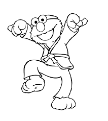 elmo practicing taekwondo coloring pages kids ezw printable