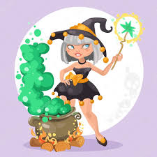 halloween witch background halloween witch with the boiler of potion on background