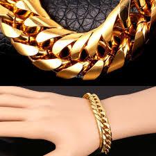 bracelet gold man stainless steel images Big stainless steel bracelet men jewelry wholesale gold color 21cm jpg