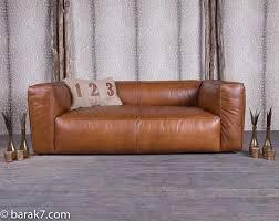 canaper en cuir en cuir marron sans pieds