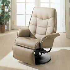 Swivel Recliner Armchair Coaster Furniture Leatherette Swivel Recliner Chair In Bone Finish