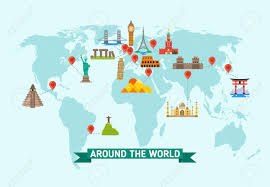 World Map Vector Travel Landmarks On World Map Vector Illustration World Monuments