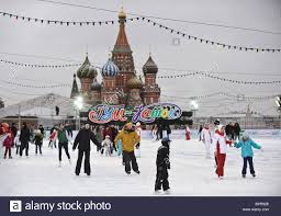 outdoor ice skating rink opens in moscow u0027s red square stock photo