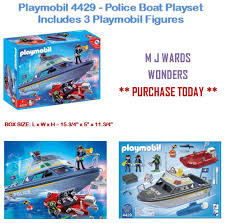 playmobil 4429 police boat playset includes 3 playmobil figures