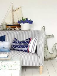 Seaside Decor Blue And White Ticking Coastal Stripe Sofa Is Complimented With