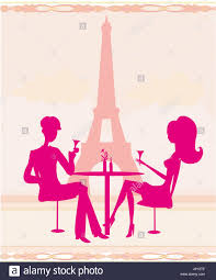 champagne toast cartoon city town paris france cheers silhouette champagne couple