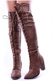 womens boots knee high leather faux leather lace up combat style with heel knee high