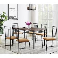 7 piece dining set wood and metal furniture for kitchen dining