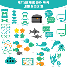 instant download under the sea printable photo booth prop set