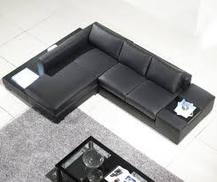 Black Leather Sofa With Chaise Small Black Leather Sectional Sofa Combined Rectangle Gray Fur Rug