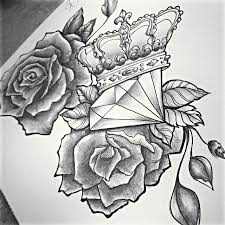 tattoo drawing diamond roses shared by jess ouimet