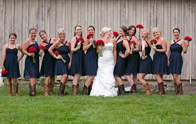 dark blue bridesmaid dresses with cowboy boots elite wedding looks
