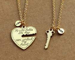 valentines necklace he who holds the key gold necklace heart key necklace his