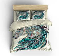 Ivory Duvet Cover Set Beautiful Horse Bedding Comforter Cover Duvet Cover Pillow