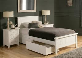 White Wood Single Bed Frame White Wooden Bed Frame With Headboard And Storage Drawers