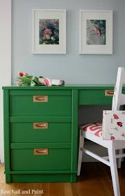 kelly green and coral mid century desk and chair saw nail and paint