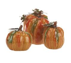 ceramic pumpkins as is 3 ceramic pumpkin set by valerie page 1 qvc