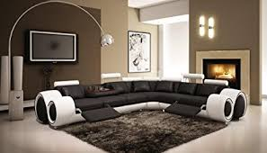 modern black and white leather sectional sofa amazon com 4087 black white modern leather sectional sofa with